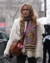 scarf,nyfw 2017,fashion week 2017,fashion week,streetstyle,striped scarf,jacket,white jacket,fur jacket,white fur jacket,bag,brown bag
