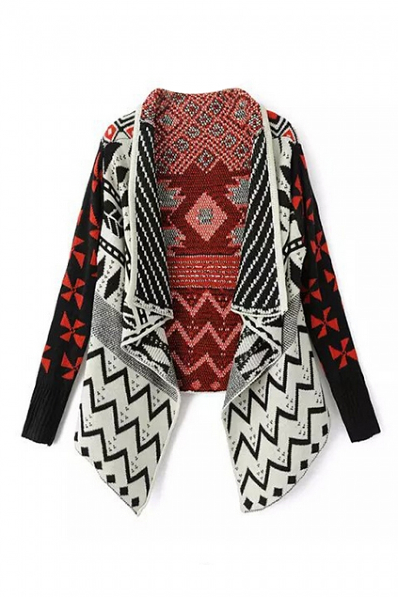 Tribal Patterns Asymmetric Knitted Cardigan