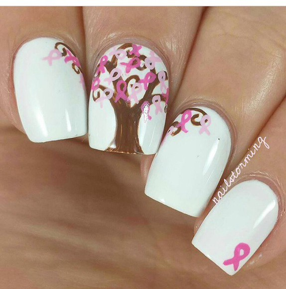 nail polish white nails art polka dots breast cancer awareness