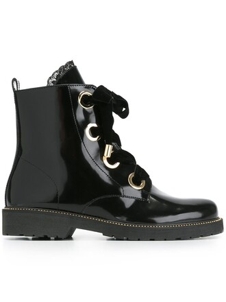 oversized women boots lace leather black shoes