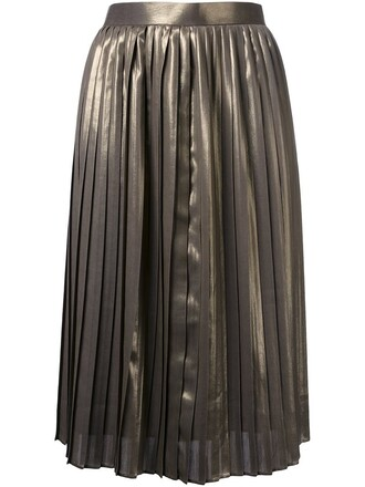 skirt pleated women grey metallic