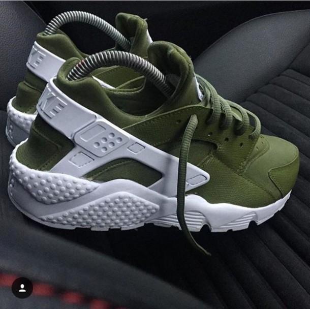 8886089fe93 shoes nike huarache nike shoes nike hurraches olive green khaki sneakers  harruches green cute sporty adidas