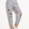 Heather grey ripped elastic hem drawstring pants -shein(sheinside)