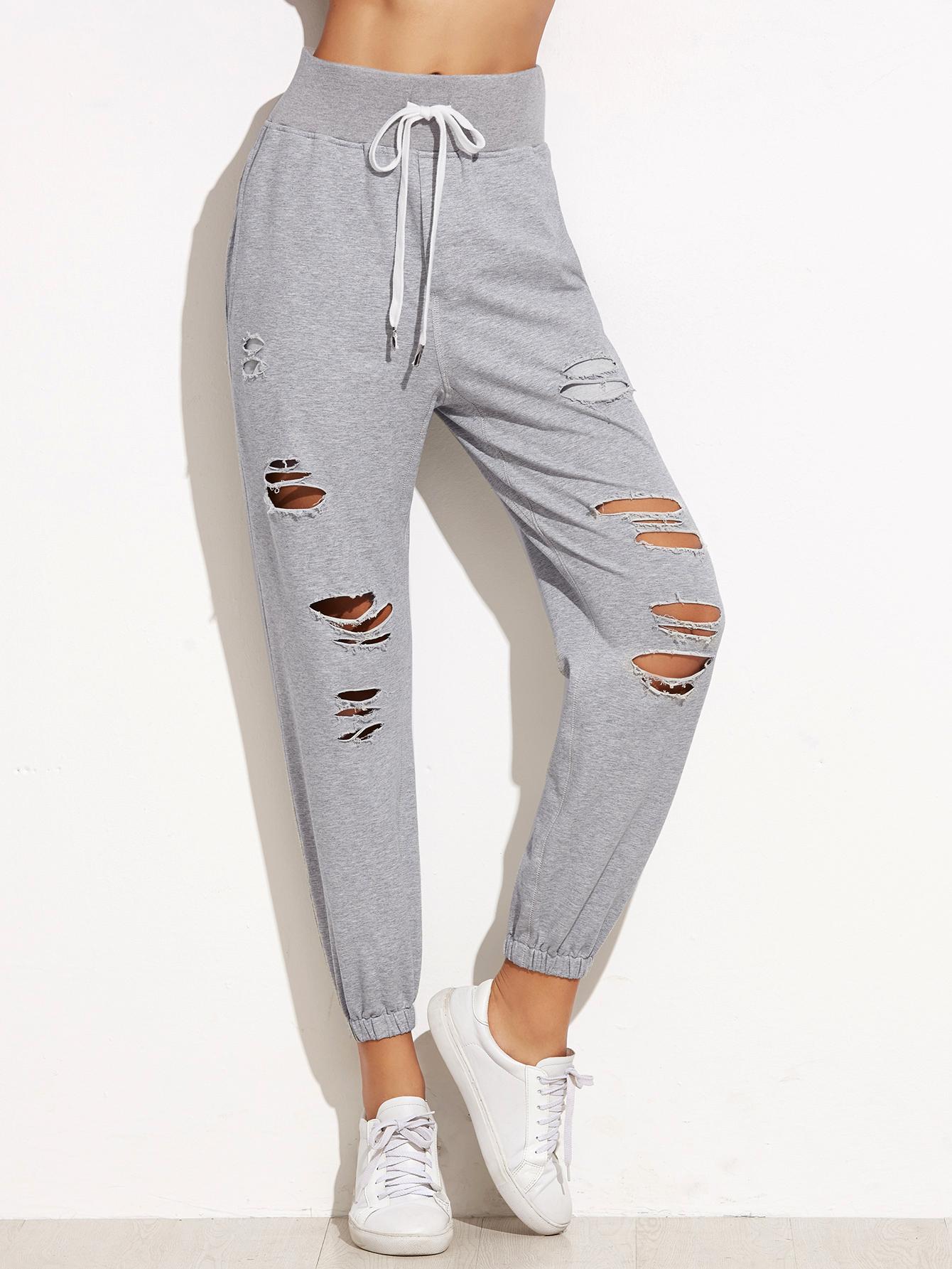 Heather Grey Ripped Elastic Hem Drawstring Pants -SheIn(Sheinside)