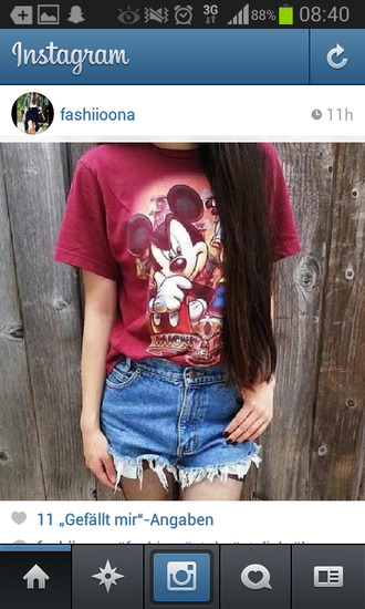 jeans shirt mickey mouse red hotpants long hair brunette