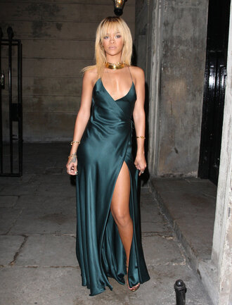 green dress rihanna silk