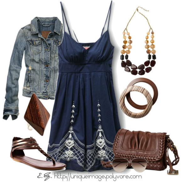 clothes shoes sandals bag dress jacket short dress spaghetti strap navy navy blue empire waist v-neck dress denim jacket purse bracelet necklace outfit