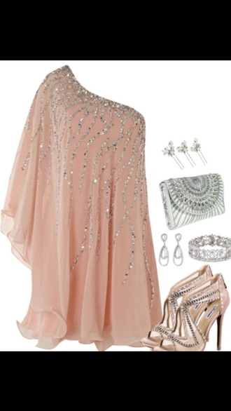 dress one shoulder pink sparkle
