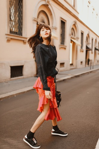 natalie off duty blogger top skirt shoes bag black blouse red skirt sneakers