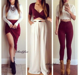 skirt red skirt red crop top white skirt white crop tops black booties brown boots shirt jeans