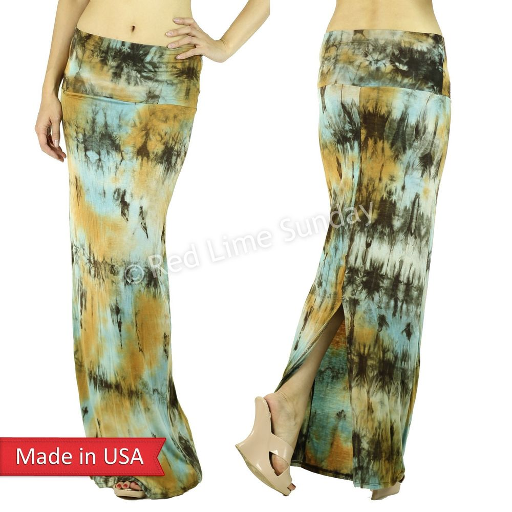 Back Slit Tie Dye Retro Earthy Color Blue Boho Hippie Gypsy Long Maxi Skirt USA