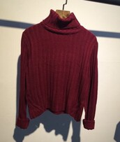 sweater,red,winter outfits,burgundy,long sleeves,turtleneck