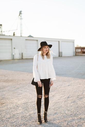 love lenore blogger top jeans shorts shoes hat bag jewels blouse felt hat black jeans ankle boots