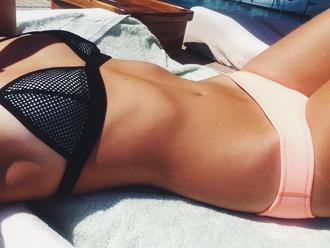 swimwear tumblr pink black lovely summer girl like