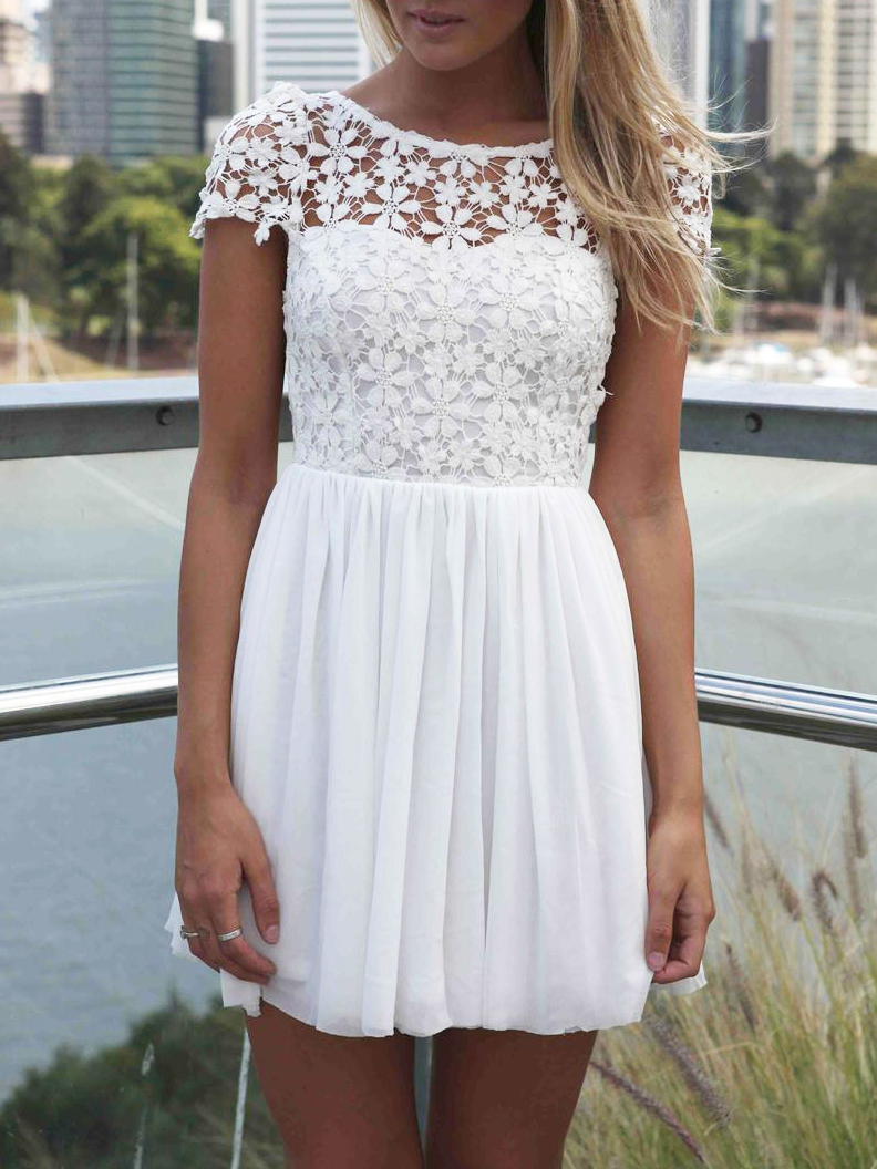 White Short Sleeve Hollow Floral Crochet Pleated Dress - Choies.com
