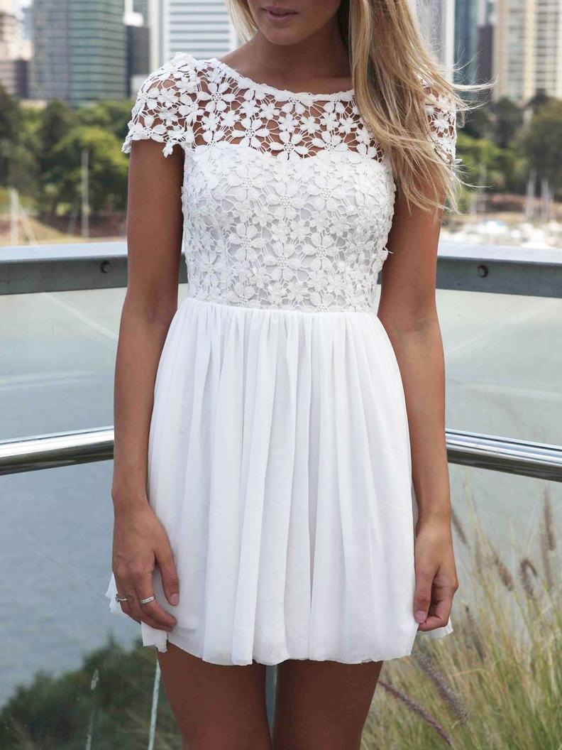 White Short Sleeve Hollow Floral Crochet Pleated Dress - Choies.com