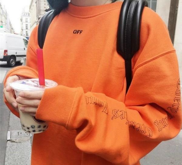 Sweater tumblr instagram crewneck orange print - Wheretoget