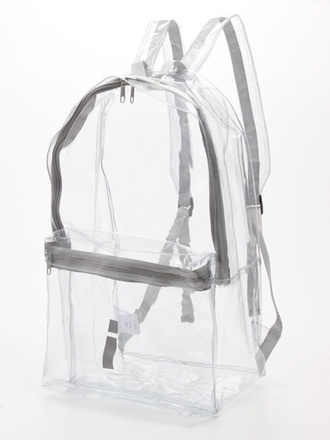 bag see through backpack shoes transparent grunge pastel pastel goth transparent  bag clear clear backpack bookbag sliver transparent bag grey whit white see through bag grudge american apparel cute cool hipsta