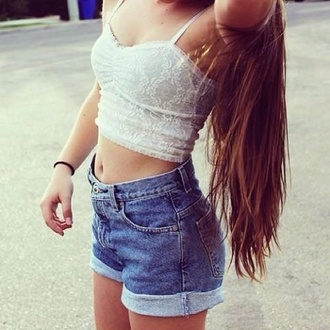 top hair denim shorts crop top bralette skater skirt style shorts high waisted leather black hairstyles blue vans lace blouse flowy