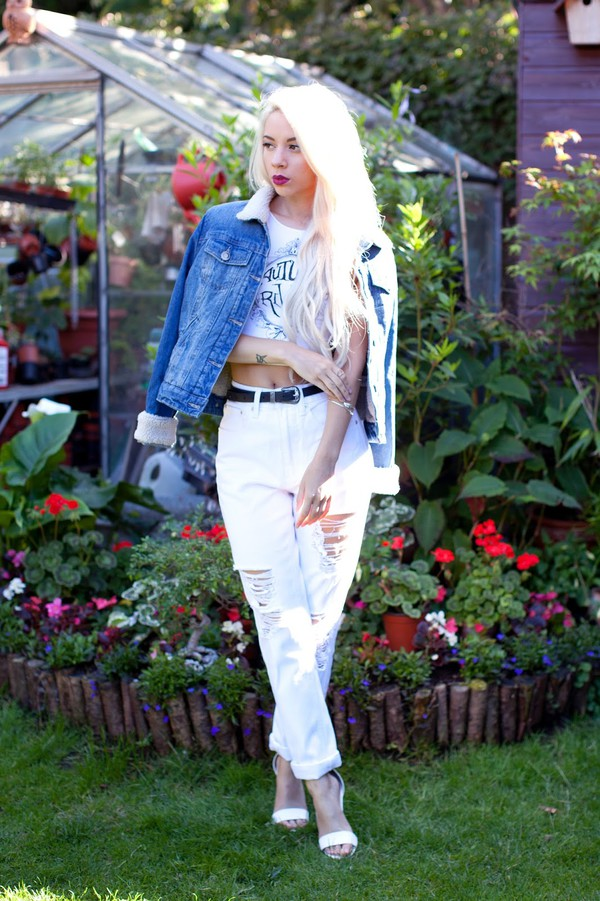 leanne lim walker jacket jeans belt shoes jewels make-up
