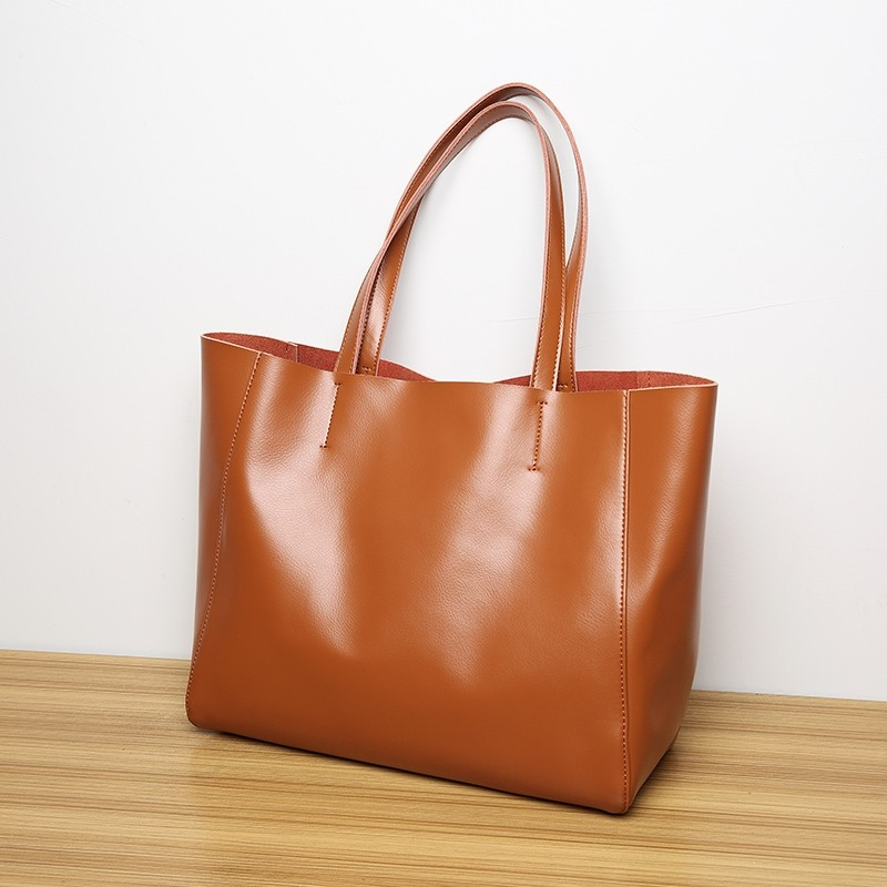 2019 authentic discount shop best authentic Brown Leather Tote Bag Simply Large Shopper Bags for Women