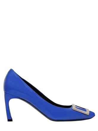 pumps leather blue royal blue shoes