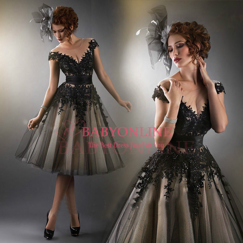 Aliexpress.com : Buy New Dashionable Sheer Scoop neck Short Sleeve Black Appliques Knee Length Cocktail Party Dresses 2014 from Reliable dress up chinese princess suppliers on Suzhou Babyonlinedress Co.,Ltd
