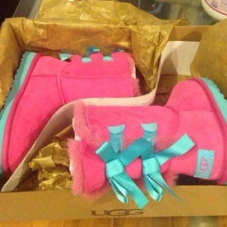 ugg boots custom shoes pink teal blue boots winter boots shoes pink ugg boots hot pink ugg boots pink blue uggs uggs blue pink and purple bows cute style bailey bow