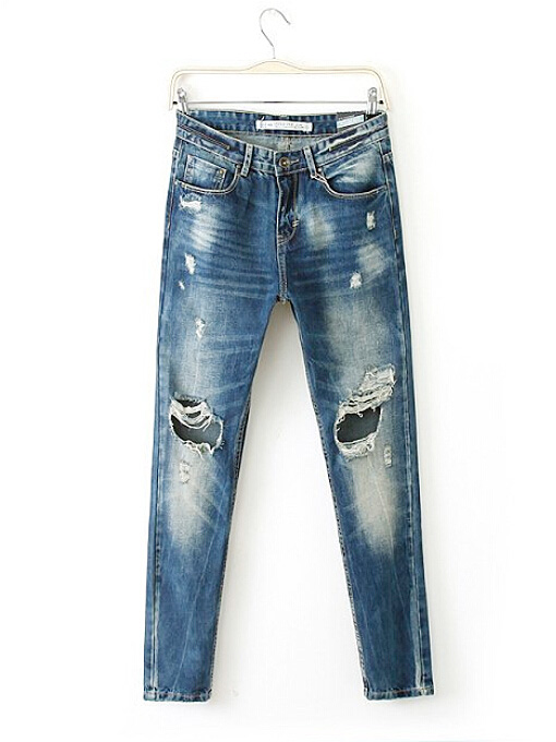 Ripped hole bleached mid waisted long skinny jeans dark blue