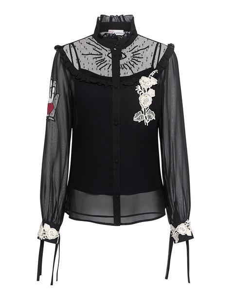 RED VALENTINO blouse chiffon blouse chiffon embroidered lace black top