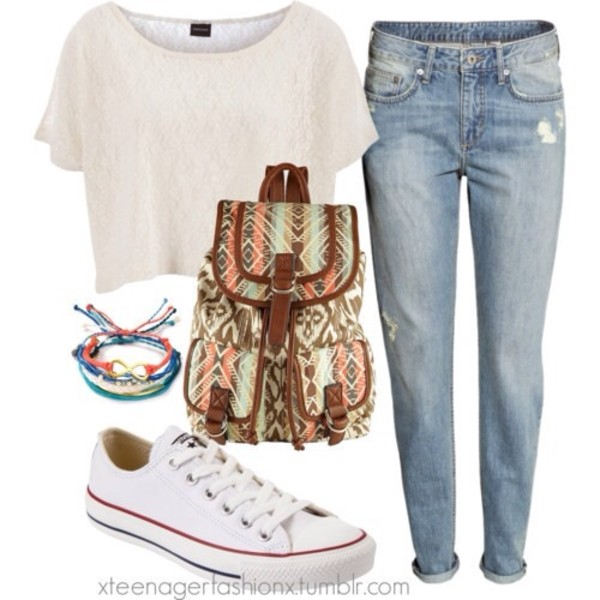 jeans shirt bag shoes jewels