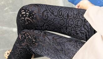 leggings embroidered black pattern flock