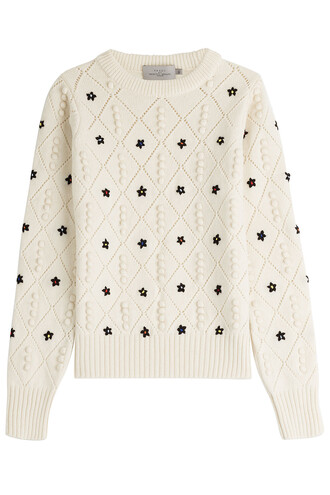 pullover embroidered wool beige sweater