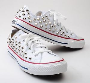 Custom Made Genuine White Low Converse Silver Spike Stud Punk Fashion Sneakers | eBay