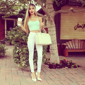 jeans sports bra green white jeans high waisted jeans purse starbucks coffee headband necklace heels