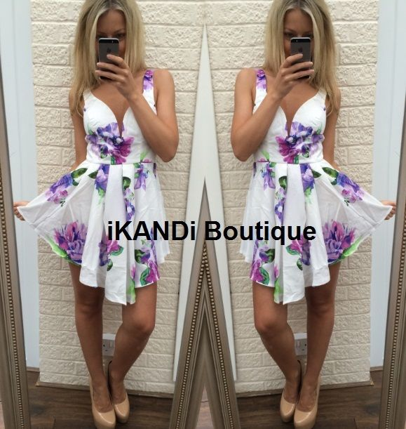 New Ladies Sexy Party White Floral V neck Plunge TOWIE Skater Flared Tutu Dress