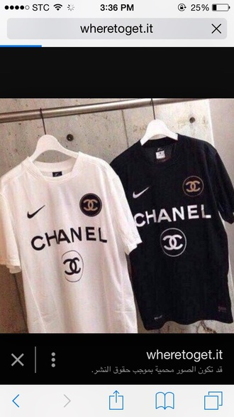 t-shirt black and white chanel inspired nike chanel channel x nike coco x nike