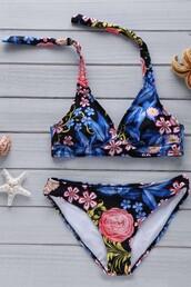 swimwear,zaful,floral,bikini,trendy,casual,summer,hippie,summer outfits,girl