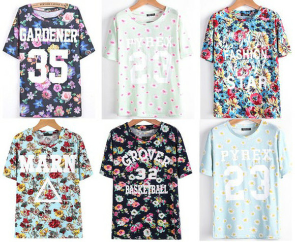 floral triangle number tee t-shirt