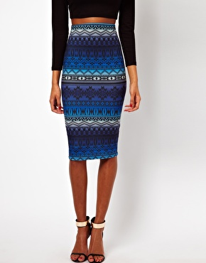 asos asos pencil skirt in aztec ombre print at asos