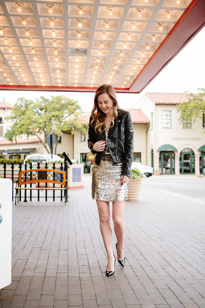 side smile style blogger sequin dress black jacket