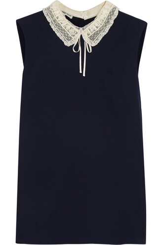 top lace silk navy