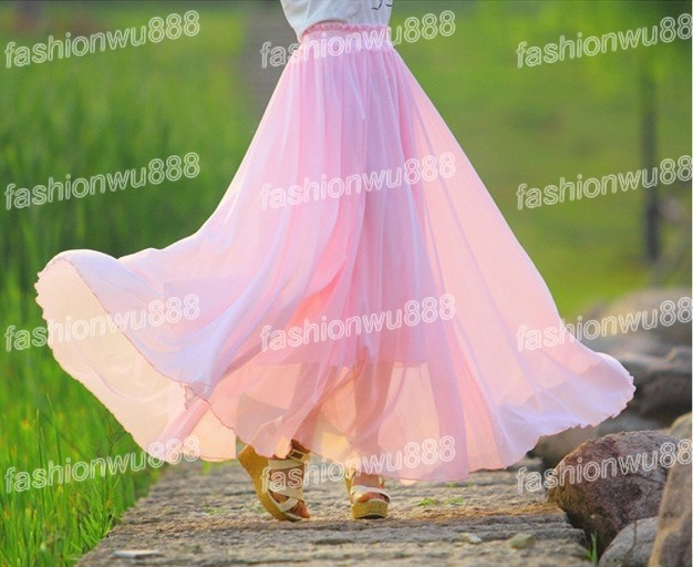 Women's Fashion New Full Circle 19 Color Chiffon Skirt Long Maxi Skirt M L XL XXL XXXL Free Shipping 1pcs/lot-in Skirts from Apparel & Accessories on Aliexpress.com