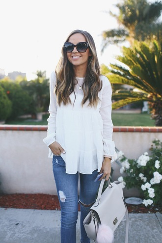 merrick's art // style + sewing for the everyday girl blogger jeans bag sunglasses shoes white top long sleeves skinny jeans white bag blue jeans ripped jeans blouse top white blouse grey bag bag accessoires fur keychain
