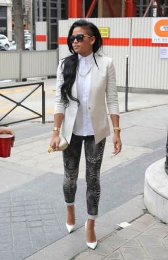 pants clothes jeans grey jeans cassie ventura printed leggings celebrity style snake print dark grey print