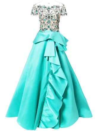 gown women floral blue silk dress