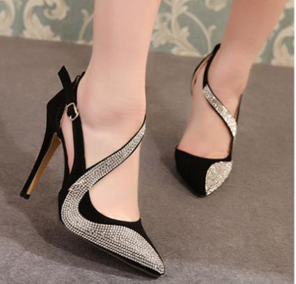 rhinestone black shoes high heels pointed toe womens