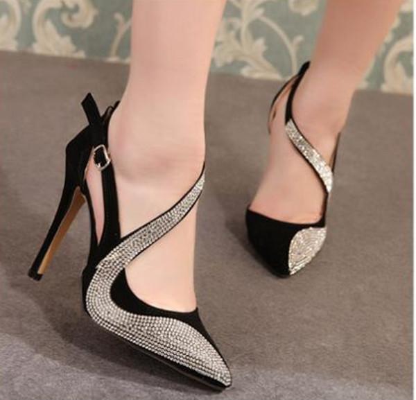 shoes heels black rhinestones pointed toe women