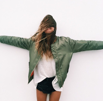 jacket boho boho chic indie tumblr tumblr outfit bomber jacket green dress grunge oversized sweater streetstyle streetwear military style khaki