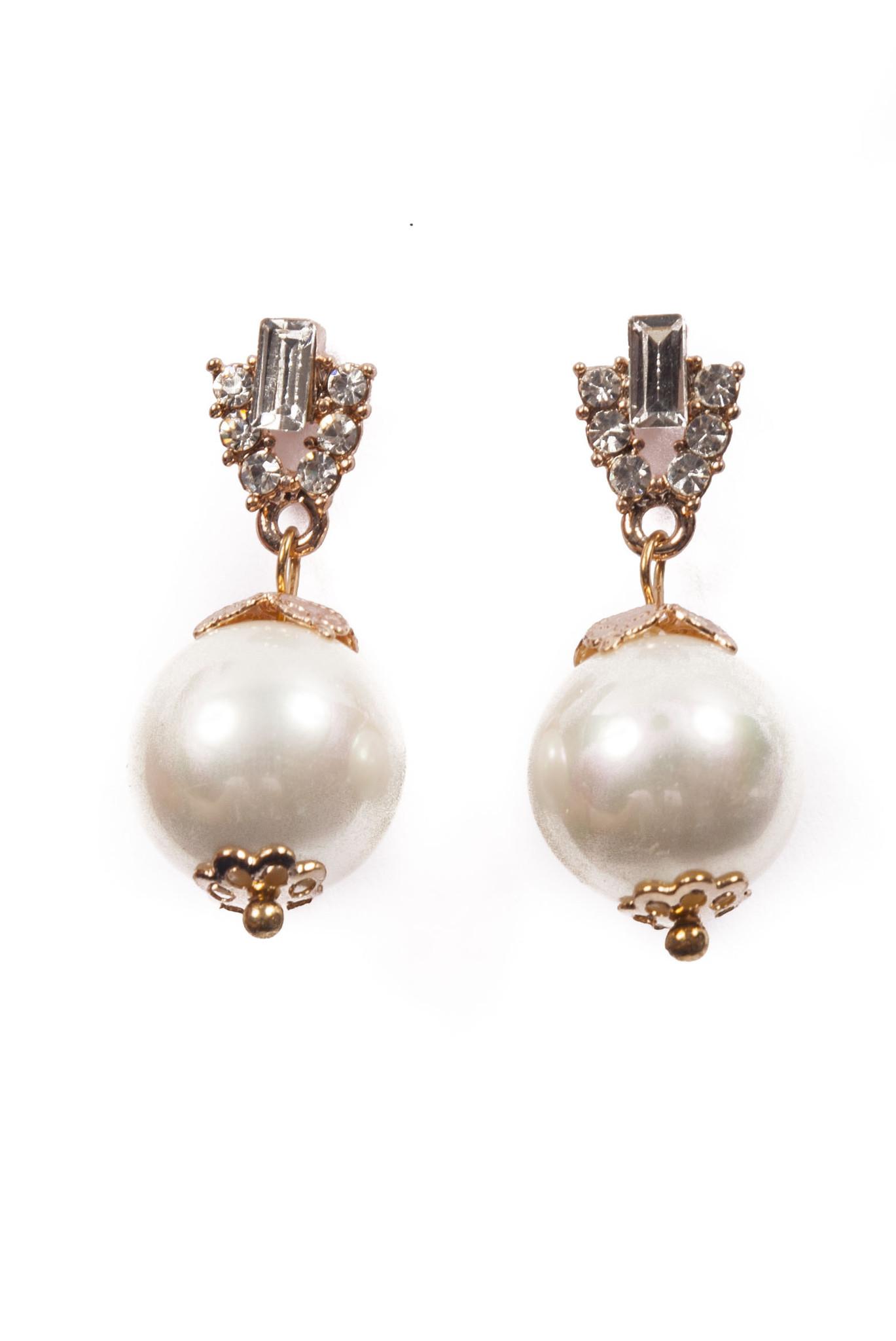 Large Gold Drop Pearl Earrings